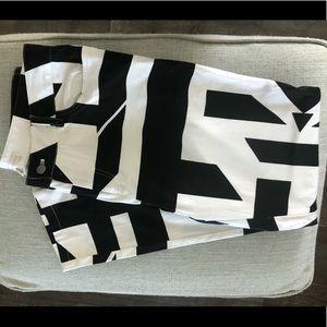 Boston Proper Skinny Pants Black/White Geo
